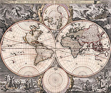 Antique World Map, Old Vintage Map, 1690, Fade Resistant HD Art Print or Canvas