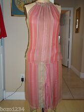 BN NEIL BIEFF OOAK 2pc SILK  SKIRT & TOP SZ SM PINKS GRN SZ SM L@@K! RET$3300.00