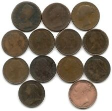 Great Britain Lot of 13 Different Farthing Coins 1754 - 1901 George II IIII Vicy
