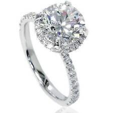 SI/G 2.50ct Halo Diamond Engagement Ring 14K White Gold Enhanced