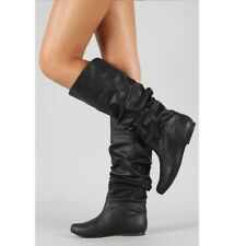 Women Knee High PU Leather Flat Boots Ladies Mid-calf Biker Slouch Boots Shoes