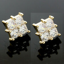 9ct Yellow Gold Four Stone Square C/Z Earrings - UK MADE
