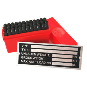 Trailer Blank VIN & Weight Chassis Plate with Number & Letter Stamp Punch Set