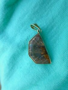 Vintage Amethyst pendant Flower Stalactite? crystal stone Silver tone handmade