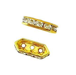 50 Gold Triple 3 Hole Strand 15mm Rhinestone Spacer Bead Spacer Bar Beads