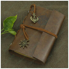 Nautical Portable Leather Notebook Personalized Travel Diary Refillable Brown