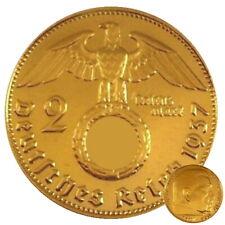 +++ 2 Reichsmark 1937 mit HK - 24 Karat vergoldet +++