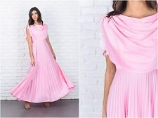 Vintage 70s Pink Draped Maxi Dress Cape Floral lace Pleated Boho XS Small S