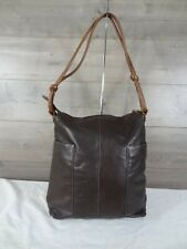 ILI New York Toronto Brown Leather Tote Shoulder Bag Handbag Purse