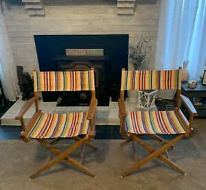 Pair of Vintage Telescope Folding Furniture Striped Canvas Director Chairs-L@@K