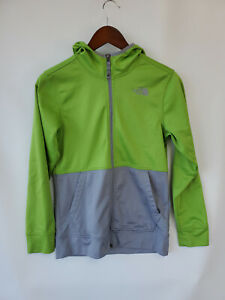 The North Face Youth Boy's Full Zip, Hooded Fleece, Size Large 14/16 Green, Gray