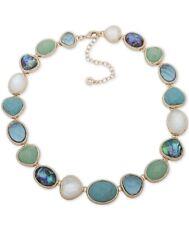 "Anne Klein Gold Tone Multi Stone Collar Necklace 16 Plus 3' "" Q35"