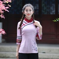Chinese Traditional  Blouse Women Linen Shirt Summer Tops Size S-2XL