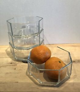 """(4) Vintage 1980s Arcoroc France Small Clear Glass Octime Octagon Bowls - 4.5"""""""