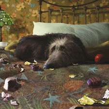 """Blank Card """"Dog Has Breakfast in Bed """" Large Square Size 6.25"""" x 6.25"""" AG 0043"""