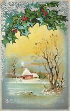 Christmas~Home By Icy Lake~Smoke From Chimney~Holly Berries~Silver~Emboss~AMP Co
