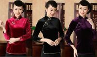 Charming Chinese Women's velour Top Dress/ T-shirt Cheongsam Sz:M L XL XXL XXXL