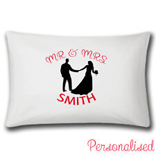 Personalised Mr And Mrs Pillow Case | Single Item | Wedding | Add Name | Gifts