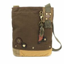New Chala Patch Cross body METAL FEATHER  Bag Canvas gift Messenger DARK BROWN