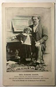 ANTIQUE c.1890 A B CHASE PIANO AD TRADE CARD w RUBINSTEIN DEMAREST CHILD PIANIST