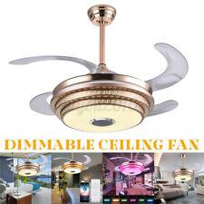 Modern Dimmable Ceiling Fan Lamp Bluetooth Speaker LED Chandelier  H F