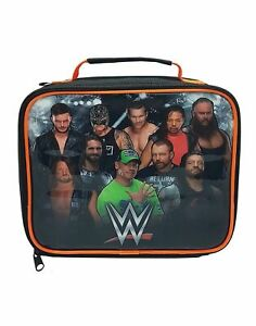 WWE Lunch Bag Wrestling Character Logo Black Zip Up Food Container One Size