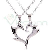 Collana doppio ciondolo pendente coppia+catenina Dragon Heart cuore regalo amore