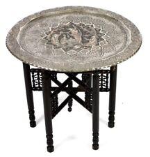 Antique Islamique Persian Qajar gravé en cuivre étamé plateau table [P3669]