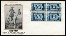 "1946 Iowa Centennial FDC #942 - ""Buffalo Bill"" Cody Cachet"
