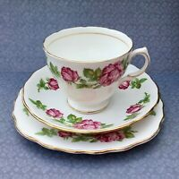 ROYAL VALE TRIO SET CUP SAUCER PLATE PINK ROSES 1950s GILDED BONE CHINA