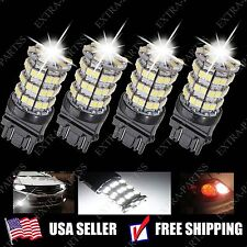 4pcs Xenon White 3157 60-SMD LED Tail Brake Stop Light bulbs 3057 3457 4157 3047