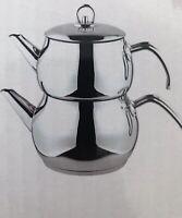 Traditional Turkish Tea Pot Stainless Steel Caydanlik Mini - UK free post