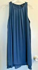 Forever 21 Teal Semi-Sheer Lined Round Pleated Neck Dress Size M Sleeveless