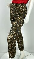 Escada New 10 US 46 IT M Brown Beige Animal Print Cotton Dress Pants Runway Auth