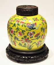 18th/19th C. ANTIQUE CHINESE QING DYNASTY JAR GINGER PORCELAIN PEACHES BUTTERFLY