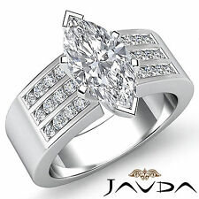 Marquise Diamond 3 Row Channel Engagement Ring GIA G VS2 14k White Gold 1.31 ct