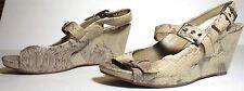 Women's Clarks Leather Wedge Pumps Beige Sandals Snake US 7.5 UK 5.5 EUR 39