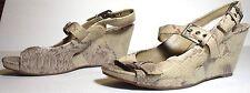 Women's Clarks Leather Wedge Pumps Beige Sandals Snake US 7.5 UK 5.5 EUR 39