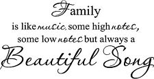 FAMILY IS LIKE MUSIC Vinyl Lettering Words Wall  Decal Decor Sticker  Quote