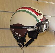 Casco vintage tricolore 150° in pelle bandiera Italiana Italia Vespa e Lambretta