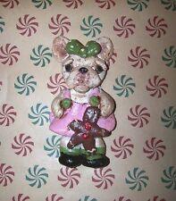 Folk Art Holiday French Bulldog Bull dog Ornament w Gingerbread Doll