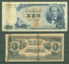 New listing Banknote B38 Japan 500 Yen ; The Japanese Government 1 Dollar