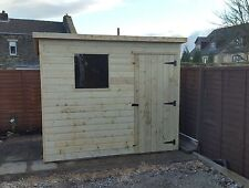 7 x 5 WOODEN PENT GARDEN SHED - PRESSURE TREATED WOOD THROUGHOUT