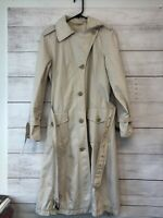 Max Mara Weekend Trench Coat Women's Size 8 Beige Cotton R-395