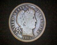 1913-S BARBER SILVER DIME #21261