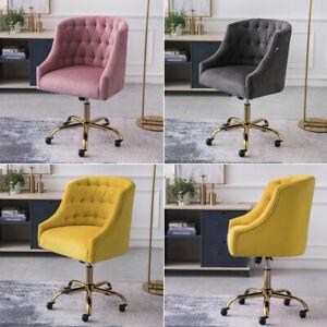 Swivel Computer Desk Chair Velvet Tub Office Chairs Padded Seater Golden Base UK