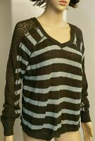FREE PEOPLE ,WE THE FREE  V Neck Distressed sweater  Crochet Sleeve S MSRP$88