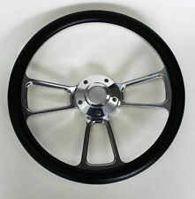 "1970 - 73 Chevy C10 Blazer Pick Up Black & Billet Steering Wheel 14"" Bowtie Cap"