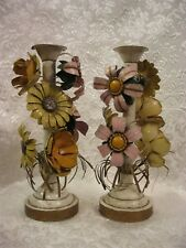 "Pair of Vintage TOLE 12"" Flower Candlesticks"