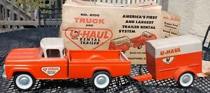 Nylint Vintage U-Haul Ford Truck and Trailer Orange Pressed Steel 1960's